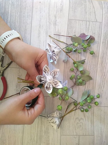 June tree decor making paper flower buttonholes for wedding
