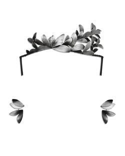 Elizabeth Terzza Silver Moth Tiara & Ear