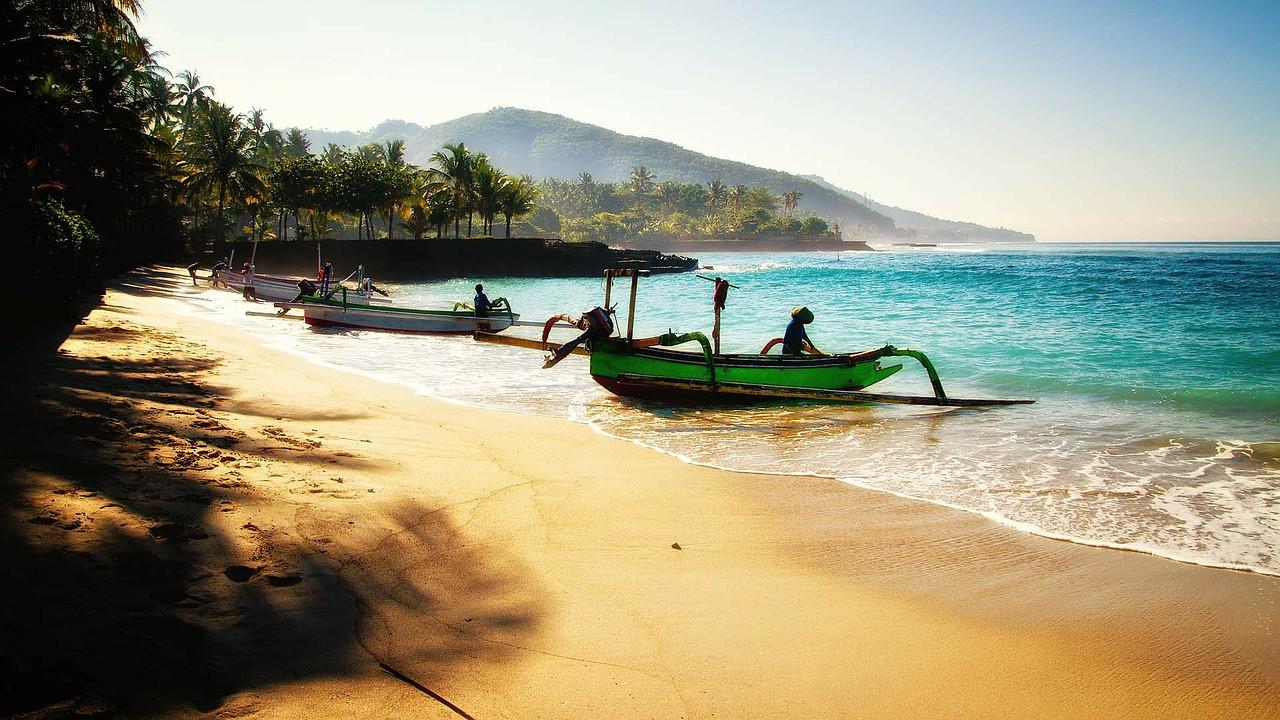 Bali Beach with boats