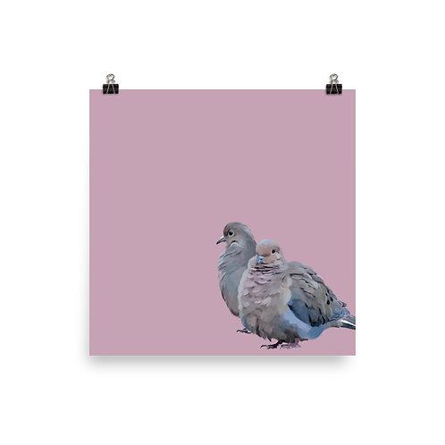 Mourning Doves - Square Bird Art Print