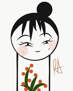 """dimples"" #kokeshi #japanese #doll #kawaii #cute #girl #adobedraw #adobeillustrator #drawing #design"