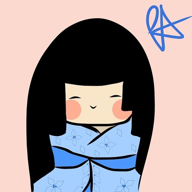 "May ""warmth"" #peijisanart #kokeshi #kawaii #japanese #cute #adobedraw"
