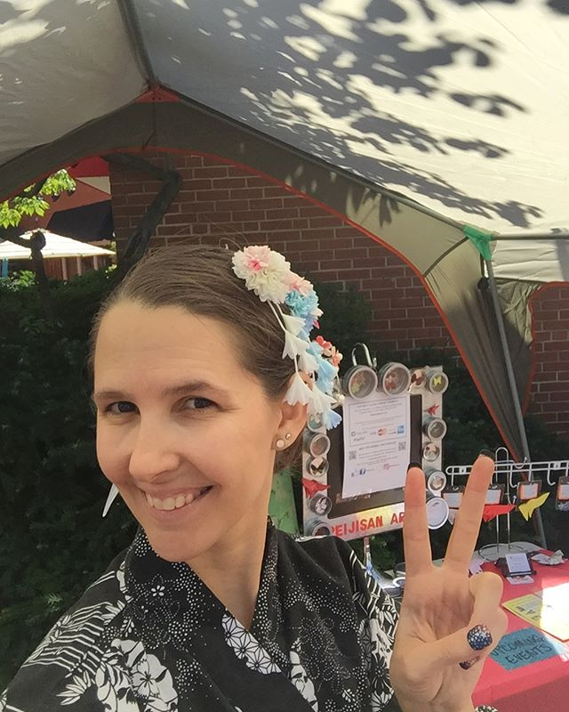 Konnichiwa! Come on by booth& check my #kawaii art style ;) #origami #peijisanart #japanesestyle #vi