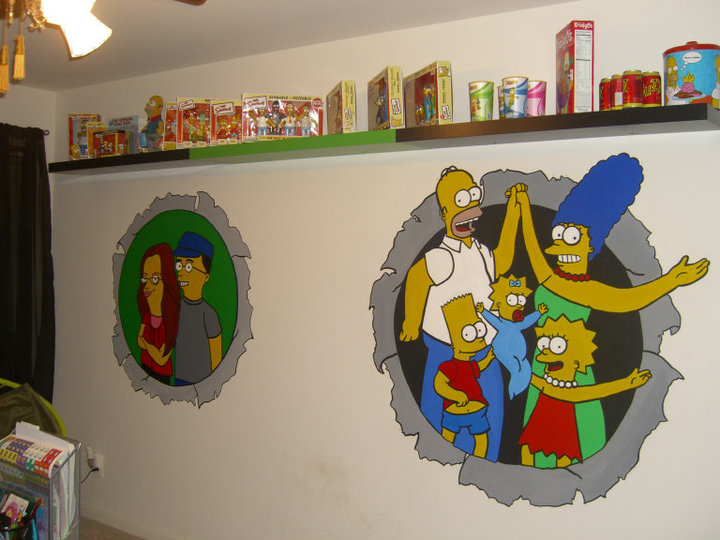 Full Simpson Mural in Home Office
