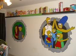 Full Simpson Mural in Home Office