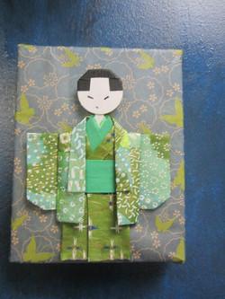 origami boy on canvas