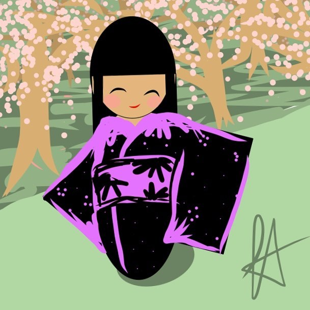 a sort-of self portrait - cherry blossom season at the tidal basin #kokeshi #cherryblossom #cherrybl