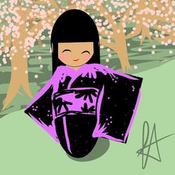 a sort-of self portrait - cherry blossom season at the tidal basin #kokeshi #cherryblossom #cherrybl