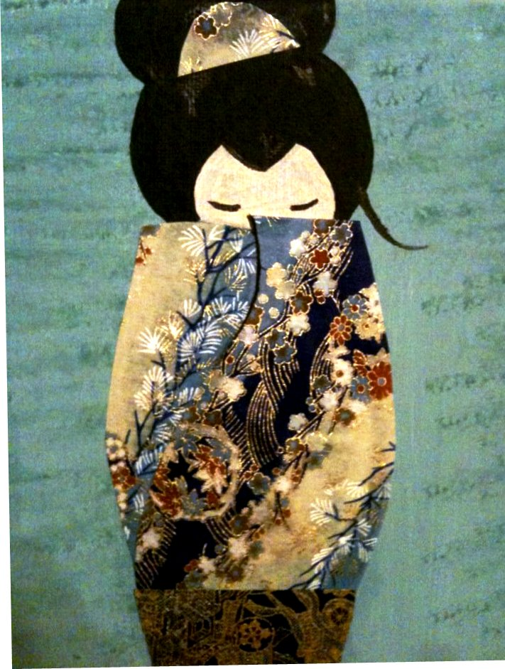 geisha blue collage detail view