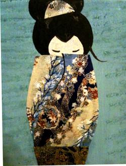 geisha blue collage detail view