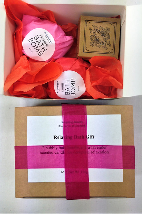 Relaxing Bath Gift bath bombs and a lavender candle