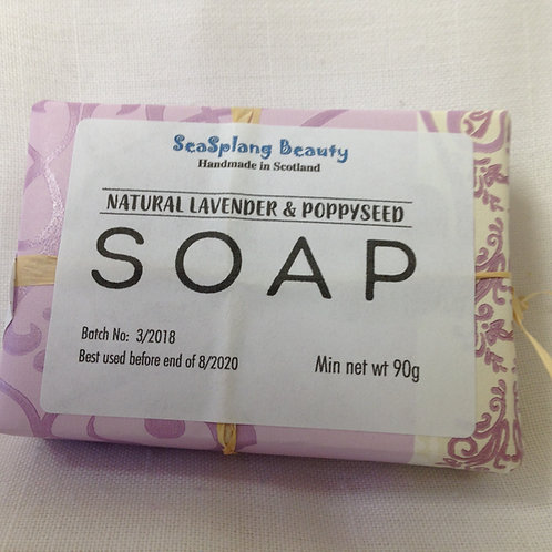 Seasplang Beauty Natural soap company uk Lavender and Poppyseed soap  packaged in pink and white paper
