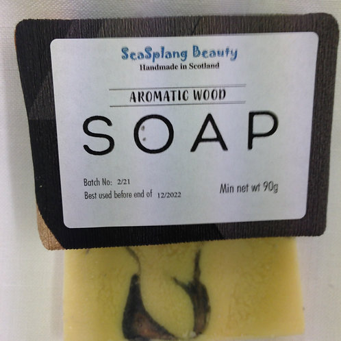 Seasplang Beauty Aromatic Wood Soap, a white soap with black and brown swirls