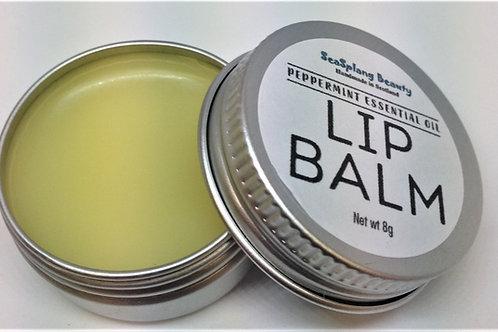 Seasplang Beauty Peppermint Lip Balm in a tin