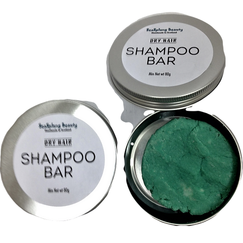 Seasplang Beauty  Shampoo Bar for dry hair packaged in an aluminium tin