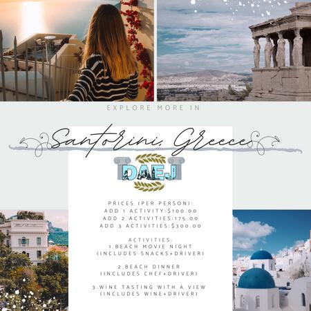 Santorini Activity Menu