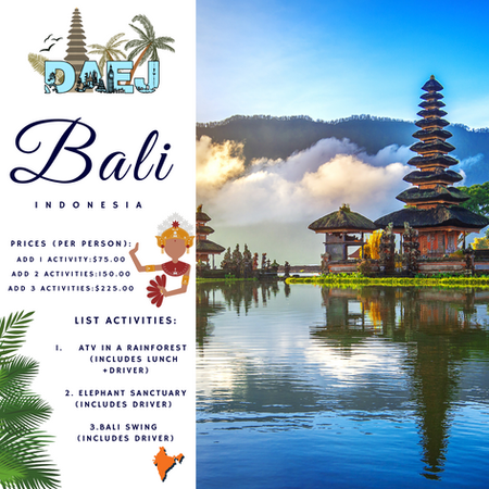 Bali Activity Menu