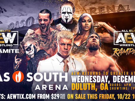 AEW Returns to the Greater Atlanta Area for Dynamite & Rampage December 1st!