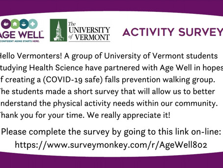 Help Age Well/UVM By Taking Survey