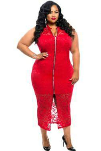 RED PLUS SIZE FORM FITTING DRESS