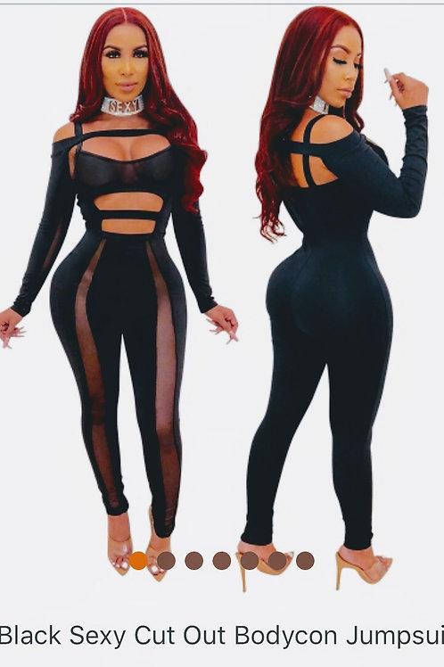 Black Sexy Cutout Jumpsuit