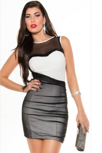 BLACK/WHITE MESH LOW CUT DRESS