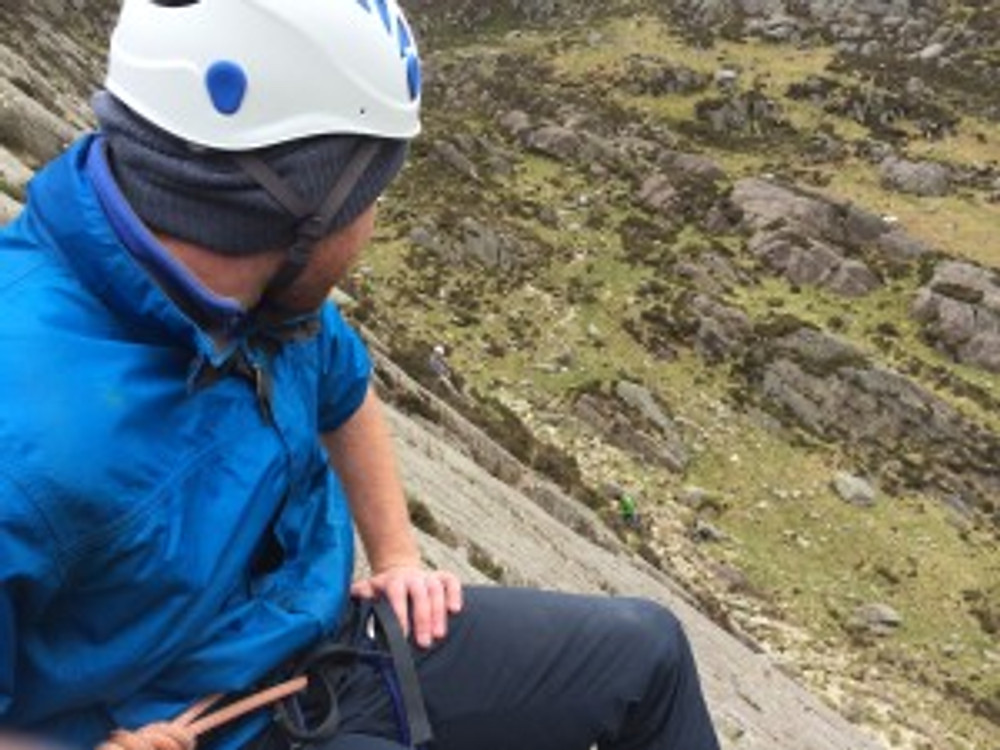 Connor at one of the belay's on Little Tryfan, looking across to Antonio and Hamish