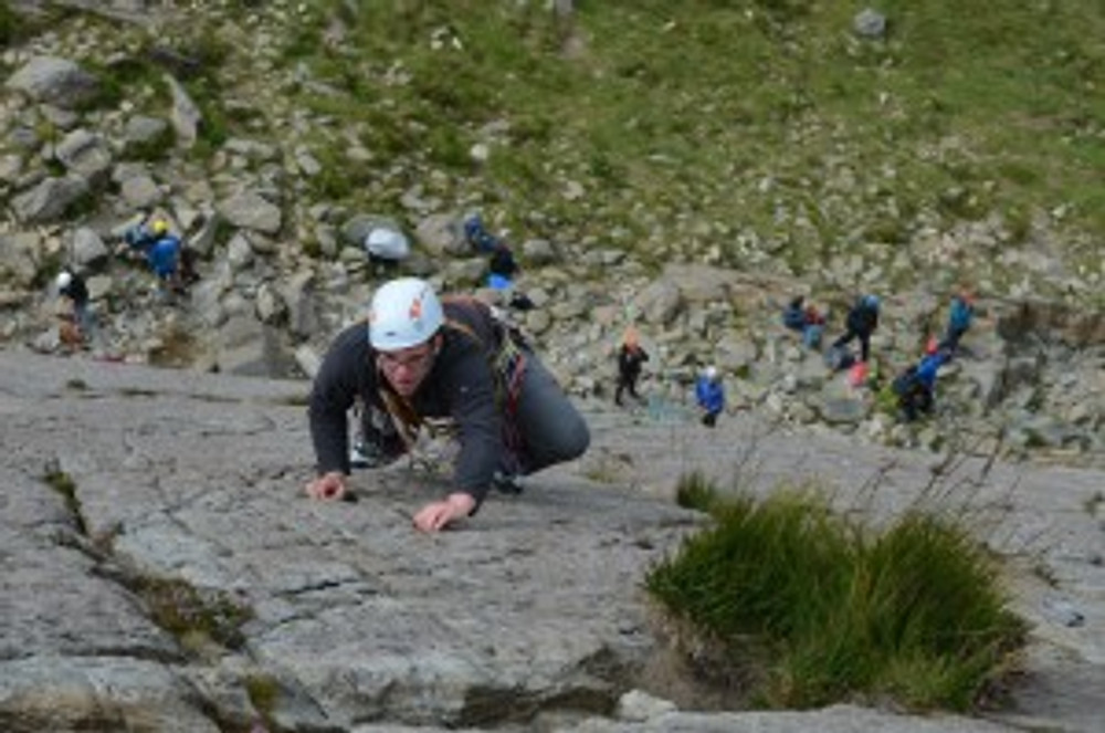 Joe leading one of the many routes on Little Tryfan