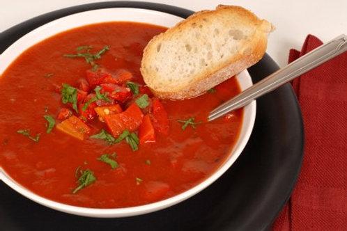 Sycylijska zupa pomidorowa z oliwa czosnkowa