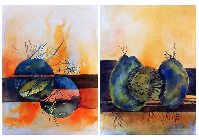"""Size: 8"""" x 11"""" ( Panel of 2) Medium: Watercolor and Ink on Paper Year of Making: 2020 Gallery Price: INR 30,000 *Shipping extra as per actuals"""