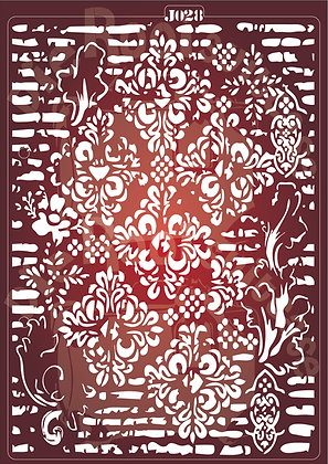 J028 Grunge Damask Journaling Stencil