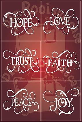 Love, Hope, Faith, Peace, Joy & Trust Coaster blocks