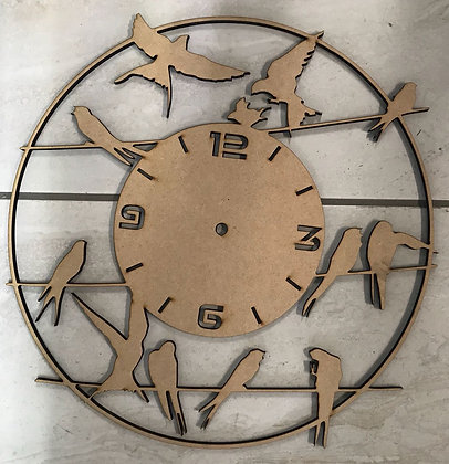 Birds on a Wire Clock