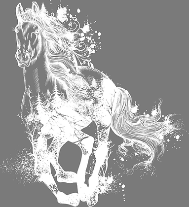 """Majestic Horse (White) - 57x63cm (23x25"""") Portrait (Solid Design)"""