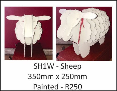 Sheep 350mm x 250mm Painted