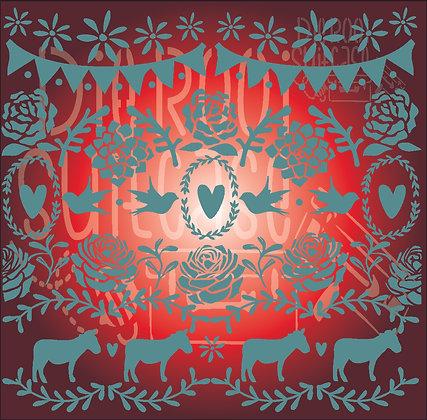 Donkey Gift Wrap Stencil