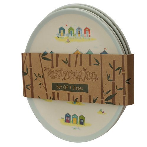 Bamboo Beach Hut Set of 4 Plates
