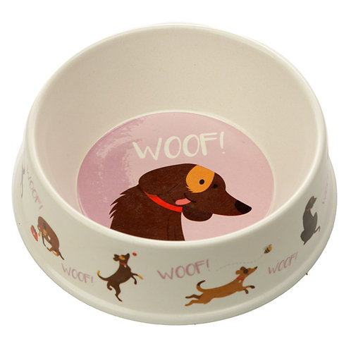 Bamboo Catch Patch Woof Dog Bowl