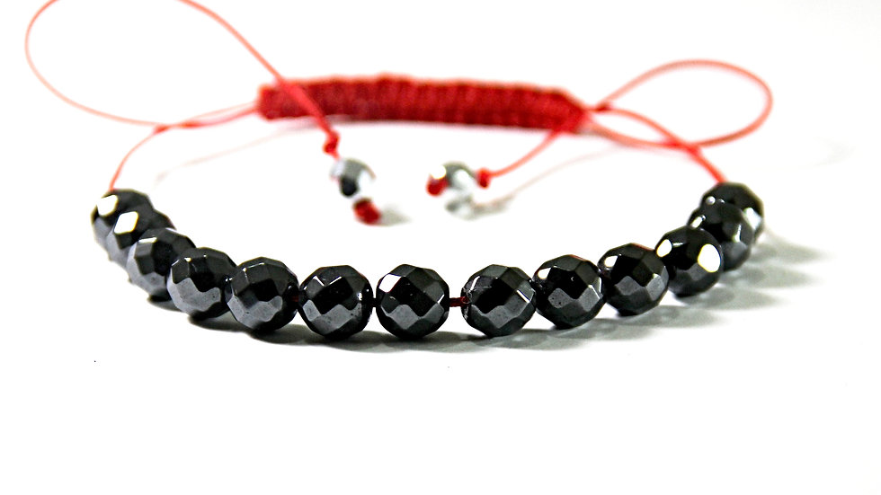GREY COLOR BEADS AND RED COLOR MACRAME BRACELET