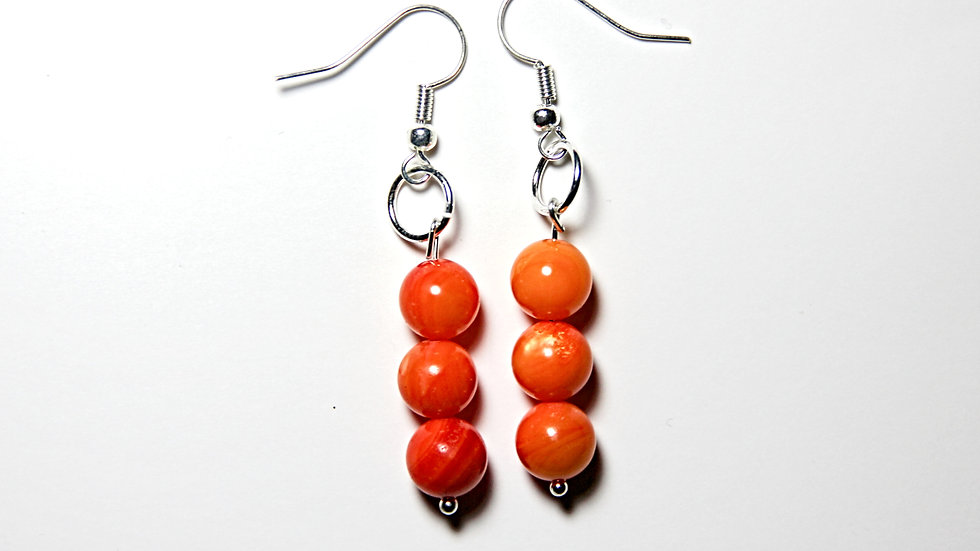 ORANGE COLOR AND WHITE LINES FASHION EARINGS