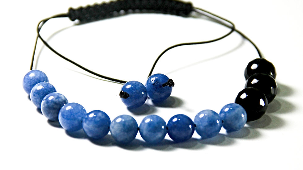 BLUE AND BLACK BEADS MACRAME BRACELET