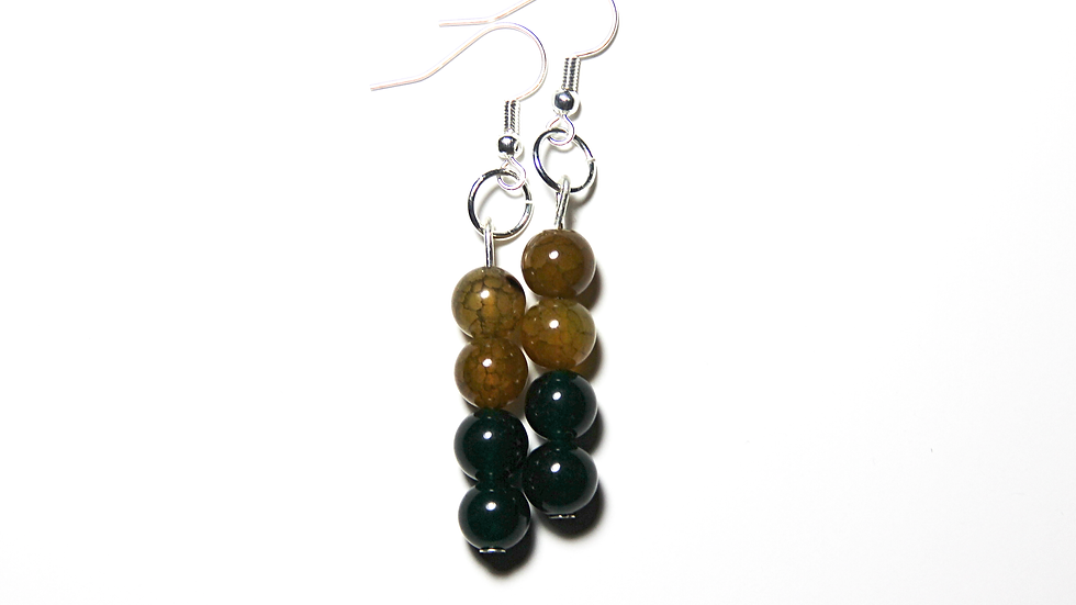 YELLOW COLOR TONES AND DUCK GREEN COLOR DESIGNED EARINGS
