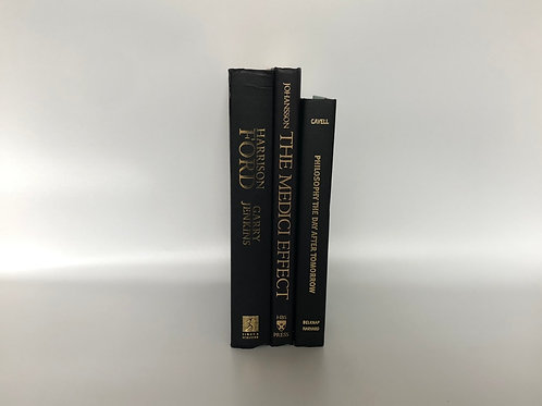 モノトーン洋書 ブラック ゴールド文字 3冊セット(M203)