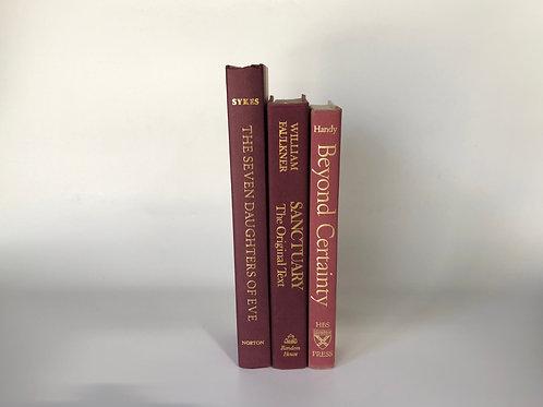 カラー洋書 暖色 ワインレッド 3冊(M119)
