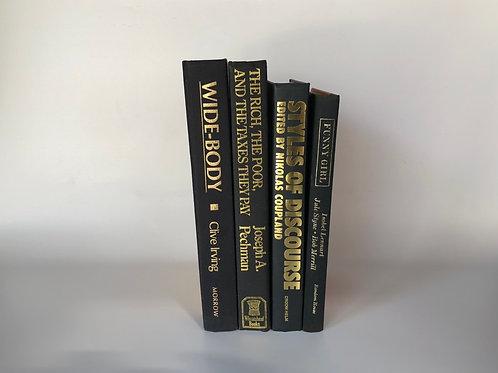 モノトーン洋書 ブラック×ゴールド文字 4冊(M117)
