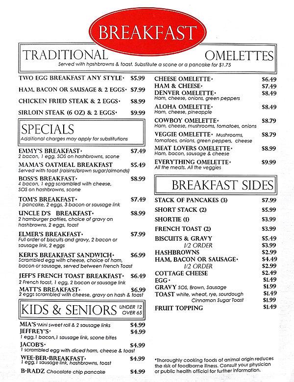 Criddles Cafe Breakfast Menu