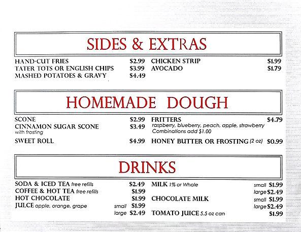 Criddles Cafe Sides & Extras Menu