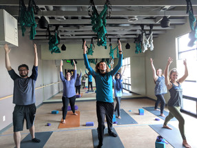 Munson Lab relaxes with some mid-finals Yoga