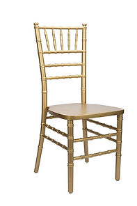 Gold chiavari rental chairs with ivory cushion