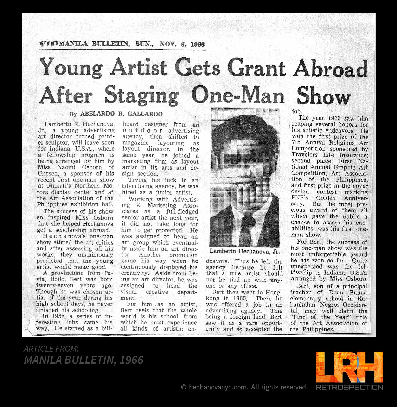 ARTICLE MANILA BULLETIN 1966